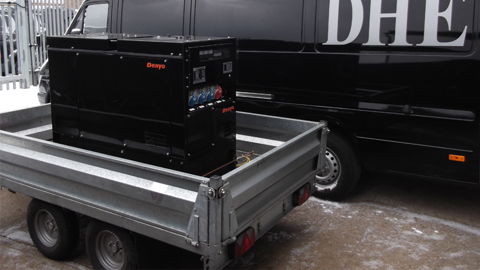 Derbyshire Stage Hire 12.5KVA Super Silent Road Towable Diesel Generator